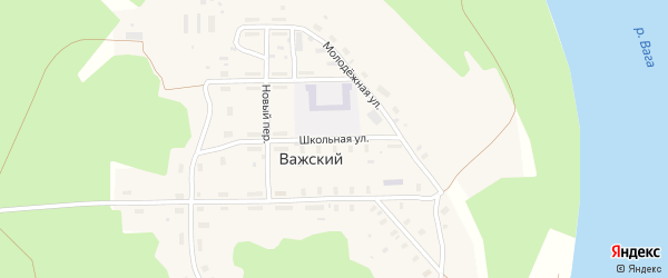 Школьная улица на карте Важский поселка Архангельской области с номерами домов