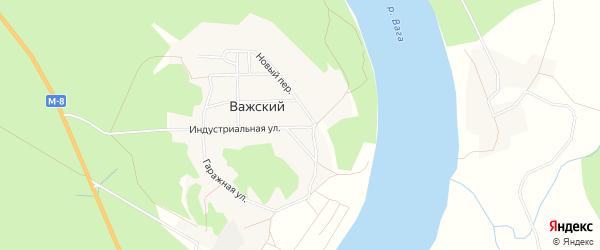 Карта Важский поселка в Архангельской области с улицами и номерами домов