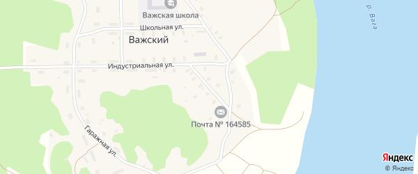 Индустриальная улица на карте Важский поселка Архангельской области с номерами домов