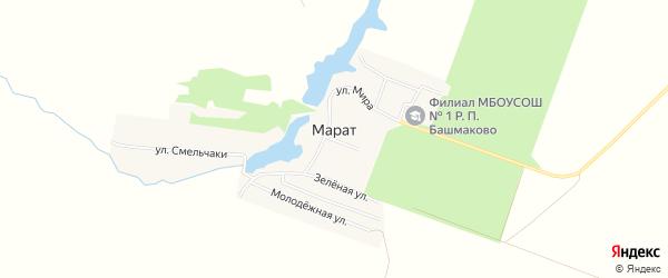 Карта села Марата в Пензенской области с улицами и номерами домов