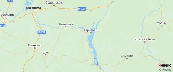 Карта Юрьевецкого района Ивановской области с городами и населенными пунктами