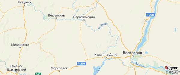 Карта Клетского района Волгоградской области с городами и населенными пунктами