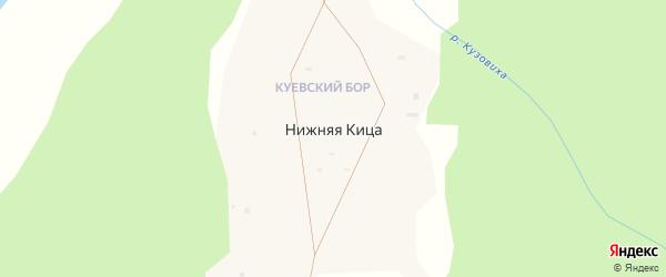 Набережная улица на карте поселка Нижней Кицы Архангельской области с номерами домов