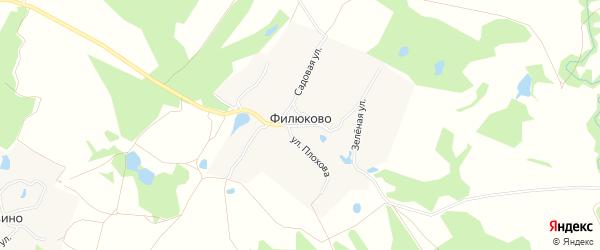 Карта деревни Филюково в Нижегородской области с улицами и номерами домов