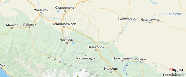 Карта Минераловодского района Ставропольского края с городами и населенными пунктами