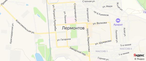 Территория гаражного потребительского кооператива Луч на карте Лермонтова с номерами домов
