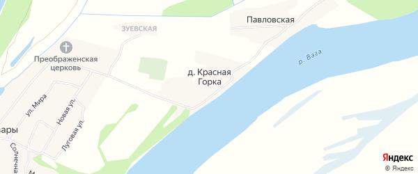 Карта деревни Красной Горки в Архангельской области с улицами и номерами домов