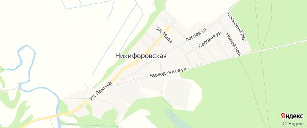 Карта Никифоровской деревни в Архангельской области с улицами и номерами домов