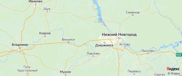 Карта Володарского района Нижегородской области с городами и населенными пунктами