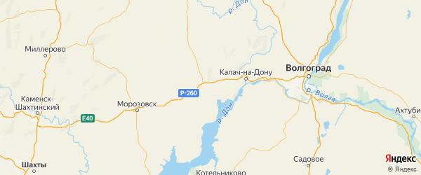Карта Суровикинского района Волгоградской области с городами и населенными пунктами