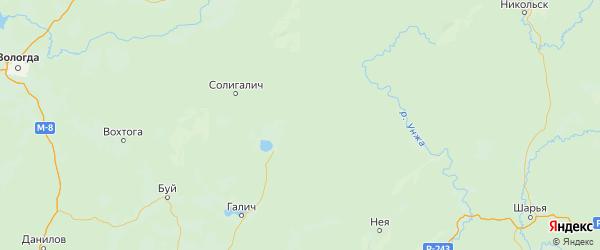 Карта Чухломского района Костромской области с городами и населенными пунктами