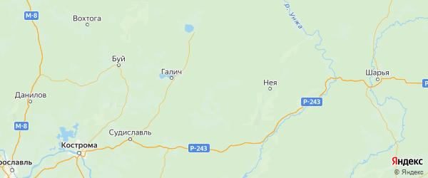 Карта Антроповского района Костромской области с городами и населенными пунктами
