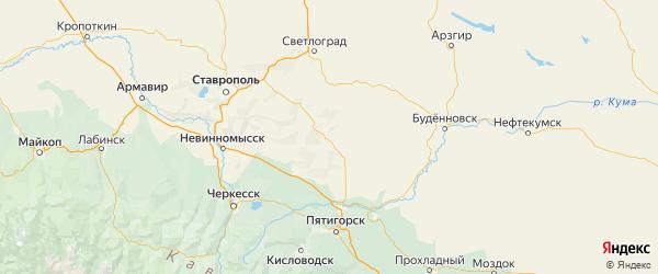Карта Александровского района Ставропольского края с городами и населенными пунктами