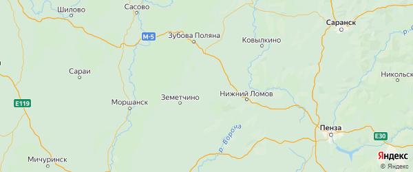 Карта Вадинского района Пензенской области с городами и населенными пунктами