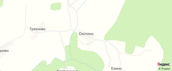 Карта деревни Охотино в Нижегородской области с улицами и номерами домов