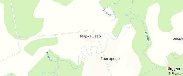 Карта деревни Маркашево в Костромской области с улицами и номерами домов