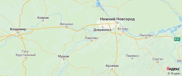 Карта Павловского района Нижегородской области с городами и населенными пунктами