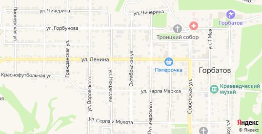 Октябрьская улица в Горбатове с номерами домов на карте. Спутник и схема онлайн