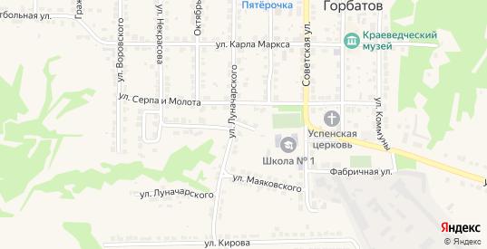 Больничный переулок в Горбатове с номерами домов на карте. Спутник и схема онлайн