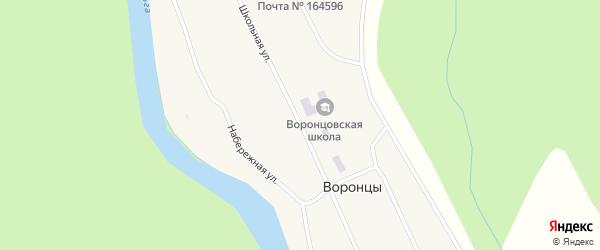 Школьная улица на карте поселка Воронцы Архангельской области с номерами домов