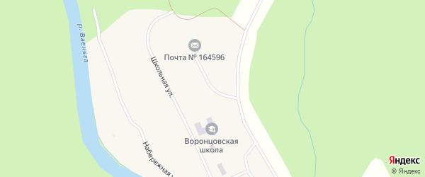 Молодежная улица на карте поселка Воронцы Архангельской области с номерами домов