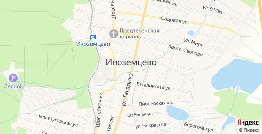 Карта поселка Иноземцево в Железноводске с улицами, домами и почтовыми отделениями со спутника онлайн