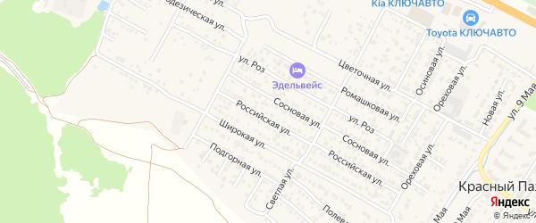 Каштановая улица на карте хутора Красного Пахаря Ставропольского края с номерами домов