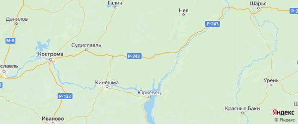 Карта Кадыйского района Костромской области с городами и населенными пунктами