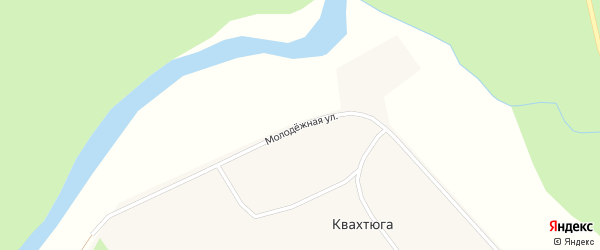 Молодежная улица на карте поселка Квахтюги Архангельской области с номерами домов