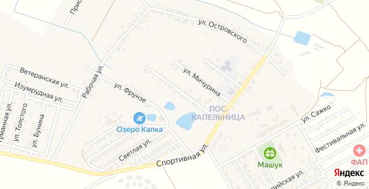 Улица Орджоникидзе в жилом районе Капельница в Железноводске с номерами домов на карте. Спутник и схема онлайн