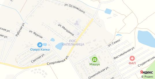 Спортивная улица в жилом районе Капельница в Железноводске с номерами домов на карте. Спутник и схема онлайн