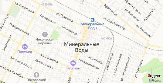 Карта автодороги Автомагистраль Кавказ в Минеральных Водах с улицами, домами и почтовыми отделениями со спутника онлайн