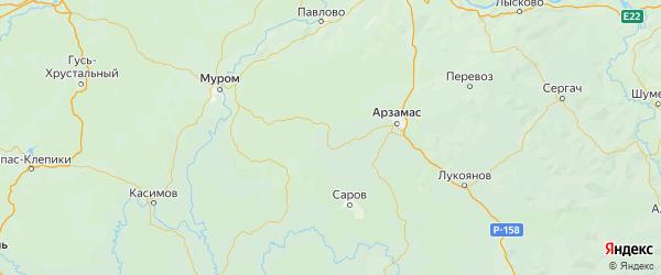 Карта Ардатовского района Нижегородской области с городами и населенными пунктами
