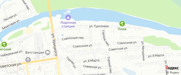 Совхозный переулок на карте Балашова с номерами домов