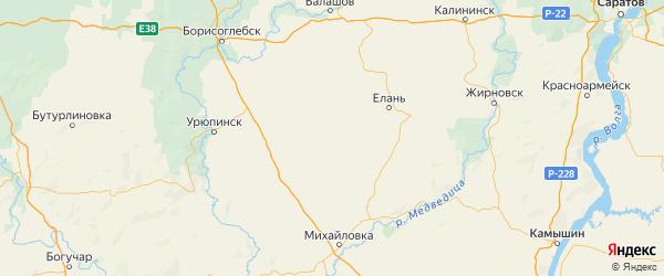 Карта Киквидзенского района Волгоградской области с городами и населенными пунктами