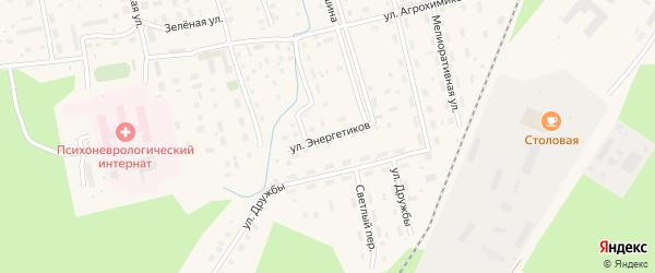 Улица Энергетиков на карте Октябрьского поселка Архангельской области с номерами домов