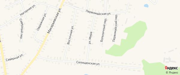 Улица Мира на карте Кадыя поселка Костромской области с номерами домов