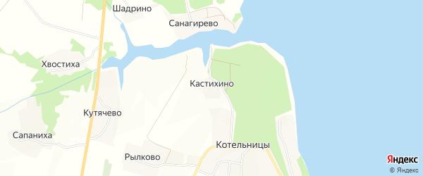 Карта деревни Кастихино в Нижегородской области с улицами и номерами домов