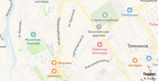 Пролетарская улица в Темникове с номерами домов на карте. Спутник и схема онлайн
