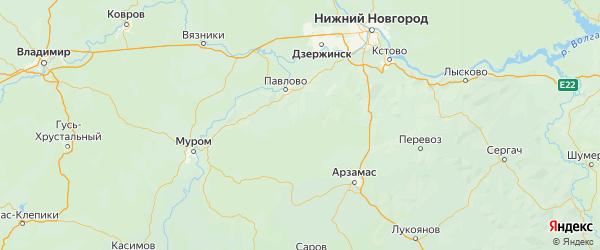 Карта Сосновского района Нижегородской области с городами и населенными пунктами