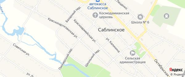 Красноармейская улица на карте Саблинского села Ставропольского края с номерами домов