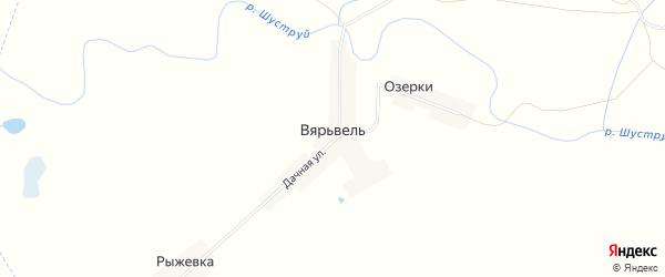 Карта деревни Вярьвели в Мордовии с улицами и номерами домов