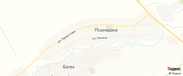 Карта села Псынадаха в Кабардино-Балкарии с улицами и номерами домов