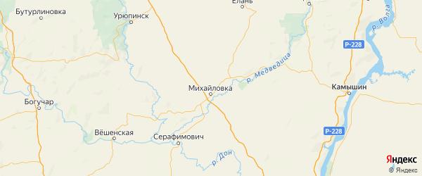 Карта Михайловского района Волгоградской области с городами и населенными пунктами