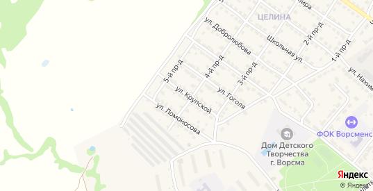 Улица Крупской в Ворсме с номерами домов на карте. Спутник и схема онлайн