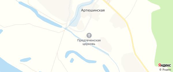 Карта Артюшинской деревни в Архангельской области с улицами и номерами домов