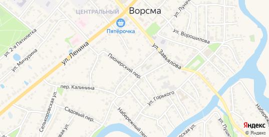 Переулок Калинина в Ворсме с номерами домов на карте. Спутник и схема онлайн