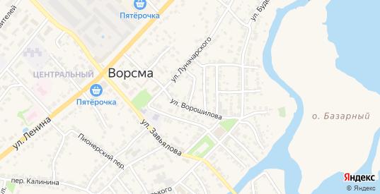 Почтовый переулок в Ворсме с номерами домов на карте. Спутник и схема онлайн