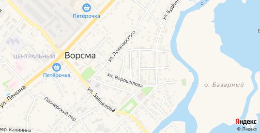 Переулок Пугачева в Ворсме с номерами домов на карте. Спутник и схема онлайн