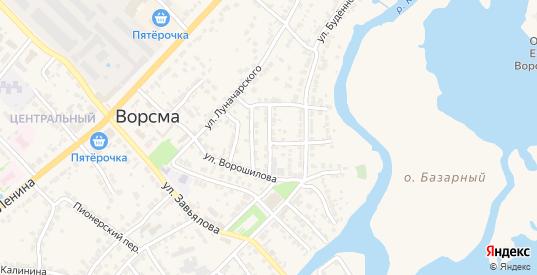 Кооперативный переулок в Ворсме с номерами домов на карте. Спутник и схема онлайн